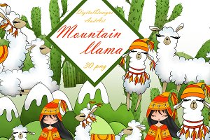 Mountain llama clipart
