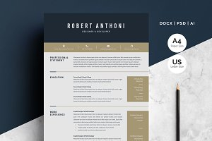 Word Resume Temlate | 4 Pages Pack