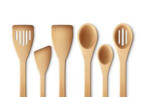 Set of the wooden kitchen utensils