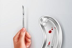 Hand holding scalpel