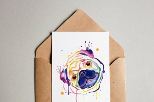 Watercolor rainbow pug portrait