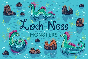 Loch Nessi seamless patterns