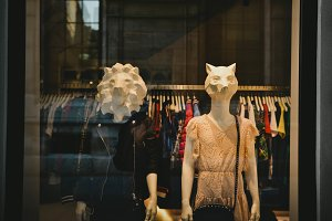 Animal mannequins in shop window