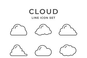 Set line icons of cloud