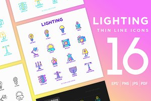 Lighting | 16 Thin Line Icons Set