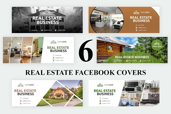 6 Real Estate Facebook Covers Creative Photoshop Templates Creative Market