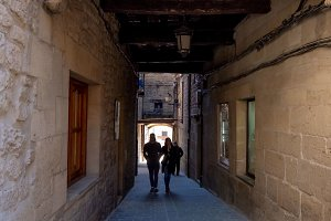 Narrow cobblestone street under a