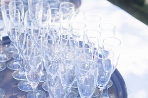 A set of glasses on the table
