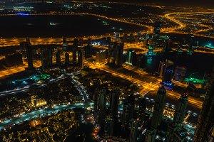 Dubai downtown night scene with city