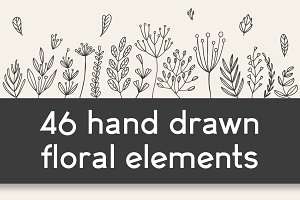 46 hand drawn floral elements