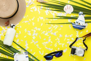 Top view accessories to travel beach
