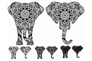 Elephant Head Mandala SVG files.
