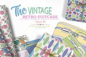 Vintage Retro Suitcase Clipart Set