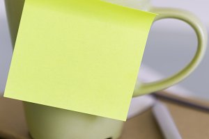 cup and a post-it