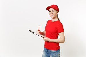 Delivery woman in red uniform isolat
