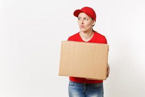 Delivery tired sad woman in red unif