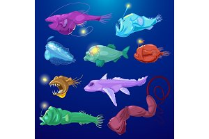 Angler fish vector seafish predator