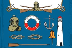 Vintage nautical elements