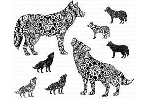 Wolf Mandala SVG Files.