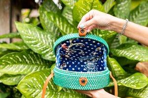 Fashionable stylish rattan bag in