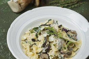 Farfalle pasta with wild mushrooms