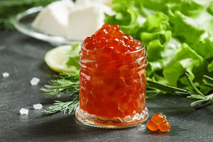 Red caviar with lettuce, dill, rosem
