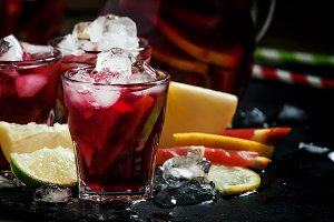 Spanish sangria with fruit and ice,
