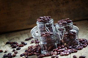 Dry beans in a glass jar, selective