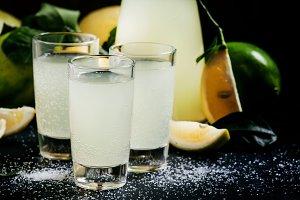 Homemade lemonade with lemon, lime,