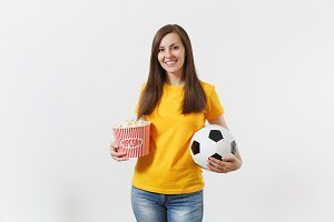 Smiling European young woman, footba