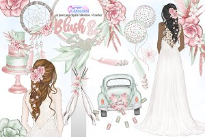 Blush & Sage wedding clipart