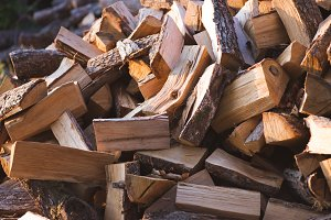 Pile of firewood. Preparation of fir