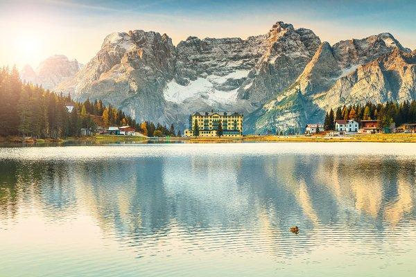 Majestic alpine lake in Dolomites