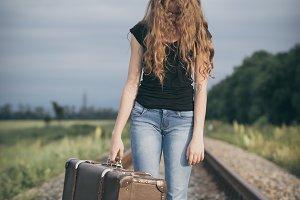 Portrait of young sad teen girl.
