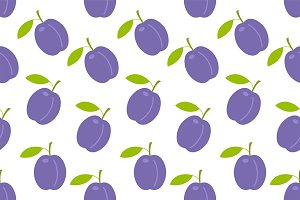 Seamless pattern with Plums