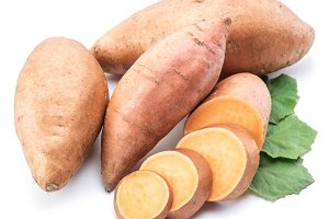 Sweet potato. Isolated on a white ba