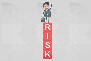 Man standing on a risk mountain of c