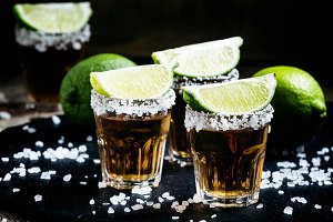Mexican tequila in a glass, sprinkle