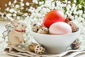 Painted Easter eggs and quail eggs i