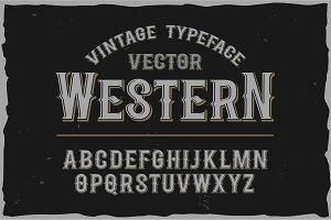 Vector vintage label font. Retro