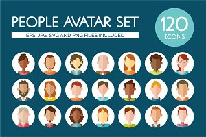120 people Avatar Set. Flat Style.