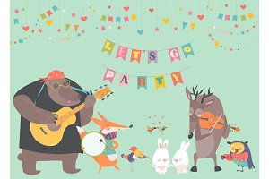 Cute animal music band
