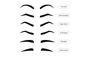 Eyebrow shapes. Various types of