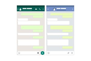 Two mobile messenger mockups. Chat