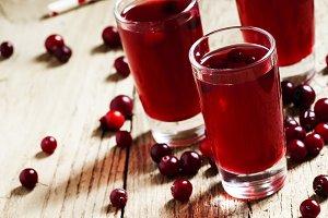 Cranberry juice, selective focus