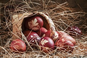 Brown painted Easter eggs with natur