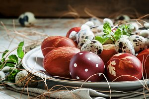 Easter colored eggs, quail eggs, twi
