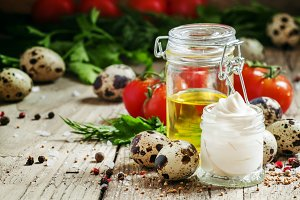 Homemade mayonnaise sauce with quail