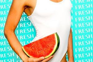 Fresh fruits vibes. Girl in white bo