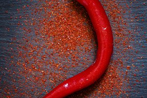 Red hot ground  chili pepper, scatte